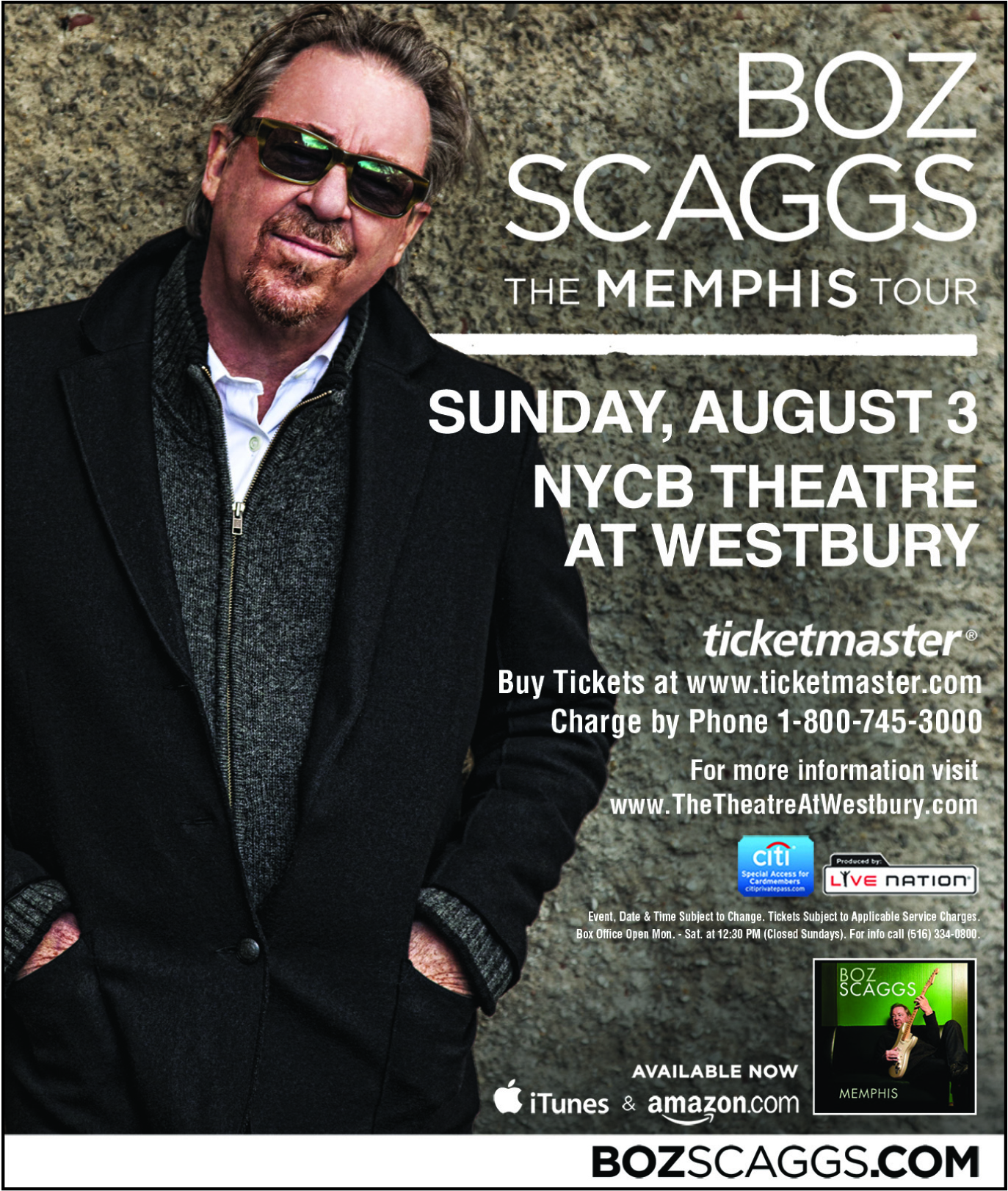 Special Block of Tickets for Boz Scaggs at NYCB Theatre at