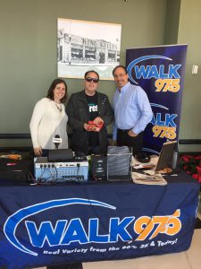 CEO Paule Pachter (center) with Mark and Jamie of the WALK Breakfast Club on-air at King Kullen in Patchogue